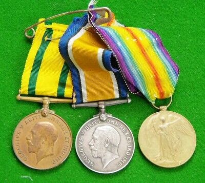 WW1 Medal Pair & Mercantile Marine Medal (wrong ribbon) Stephen Hennessy