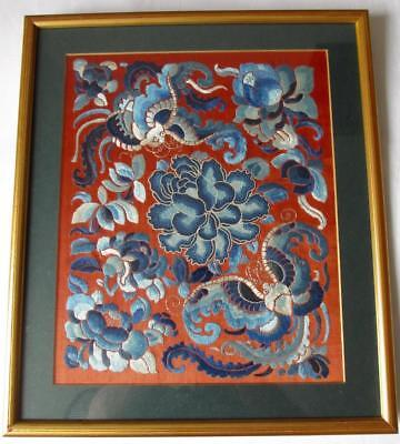 Late Qing Dynasty Chinese Embroidered Silk Panel Forbidden Stitch Peking Knot
