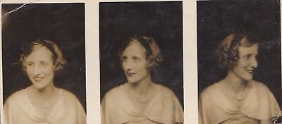 Three Vintage Photo's Pretty Young Lady Wavy Hair Lipstick Sparkly Eyes 1930's