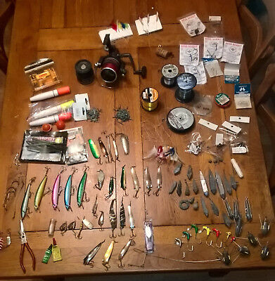 sea fishing tackle - job lot, weights, lures, rigs, floats, lines, reel, hooks