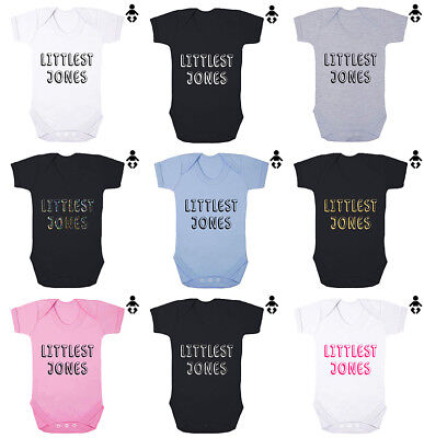 LITTLEST... Personalised Surname, family, gift, Baby grow BABY VEST / Bodysuit