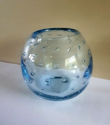Vintage 50s whitefriars saphire blue controlled bubble posy vase pat number 9377