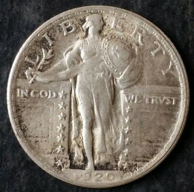 1920 25c Standing Liberty Silver Quarter Dollar