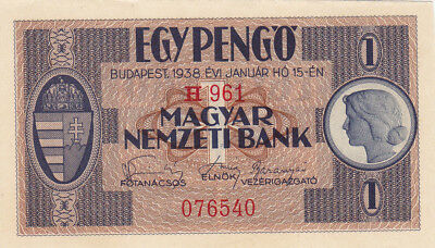 1 Pengo Aunc-Unc Banknote From Hungary 1938!used On Reclaimed Lands In Ww2!rr