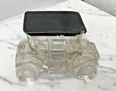 Vintage Glass CANDY Container Antique Car Truck Carriage w/ Metal Lid No Chips