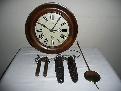 Rare, German, Weight Driven Wall Clock, Lorenz Furtwangler & Sohne, Excellent.