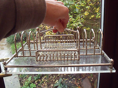 White Metal Breakfast Tray Toast Rack & Stand for Preserves Clear Resin Base.