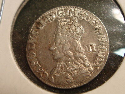 1660-1662 England Great Britain 2d 2 Pence KM 400 King Charles II XF