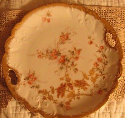 Antique Limoges France Hand Painted Flowers 2 Handle Stunning Plate