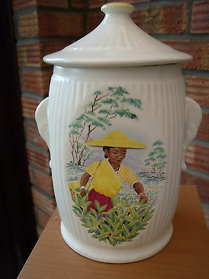 SylvaC Pottery Tea Caddy or Canister Jar with Chinese Tea Picker Cameo 1960s/70s