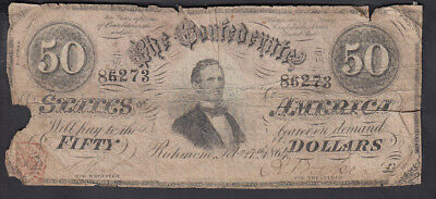 1864 Confederate States Of America 50$ Bank Note