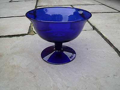 Cobalt Blue Glass Comport Compote Footed Bowl