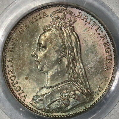 1887 PCGS MS63  Silver 6 Pence Jubilee & Wreath GREAT BRITAIN Coin (17012201D)