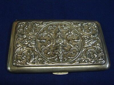 Siam Sterling Silver Cigarette Case With Raised Design  5 3/4'' Long