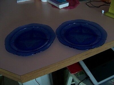 "Royal Lace cobalt blue 10"" grill plates (2)"