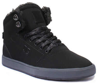 DC Shoes Mens Crisis High Nubuck Leather Black Grey High-top Shoes