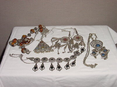 5 Wonderful Antique Ethnic Necklaces Silver And Beading ****hg***