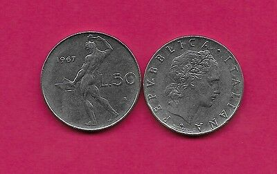 Italy Rep 50 Lire 1967R Xf Vulcan Standing At Anvil Facing Left Divides Date & V