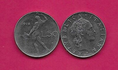 Italy Rep 50 Lire 1974R Xf Vulcan Standing At Anvil Facing Left Divides Date & V