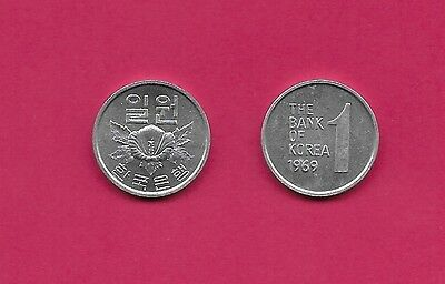 Korea-South 1 Won 1969 Unc Rose Of Sharon