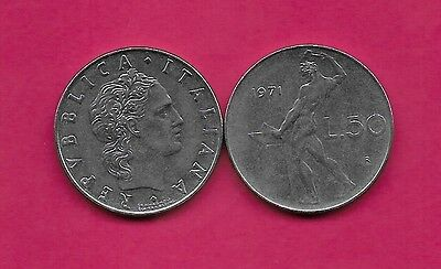 Italy Rep 50 Lire 1970R Xf Vulcan Standing At Anvil Facing Left Divides Date & V