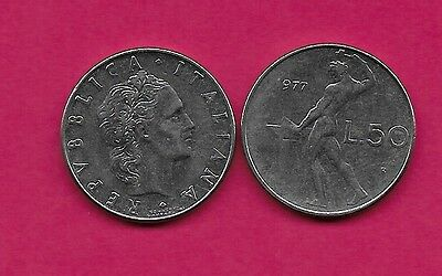 Italy Rep 50 Lire 1977R Xf Vulcan Standing At Anvil Facing Left Divides Date & V