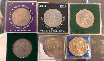 6 Coins + Winston Churchill Commemorative Crown, Queen Elizabeth 2 Silver Crown