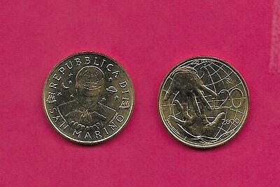 San Marino Rep 20 Lire 2000 Unc Solidarity, Bust Facing With Flame Within Hands,