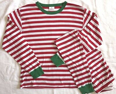 Hanna Andersson Very Merry Pajamas Set Red Green Stripe Christmas Holiday M
