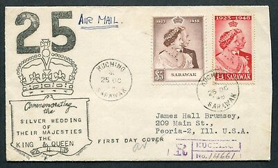 1948 Malaya Sarawak Silver Wedding set stamps on illust. Reg. FDC Kuching to USA