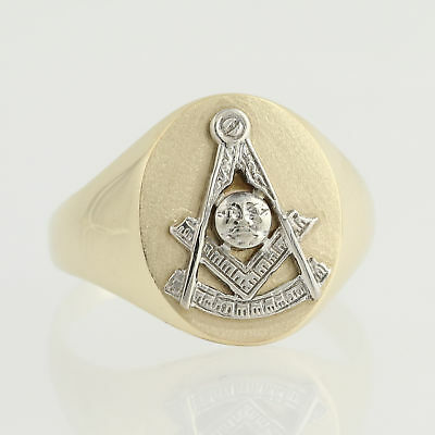 Blue Lodge Ring - 14k Yellow & White Gold Men's Size 11 Masonic Collectible