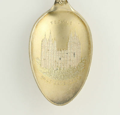 Utah Souvenir Spoon - Salt Lake City Mormon Temple Sterling Silver Collectors