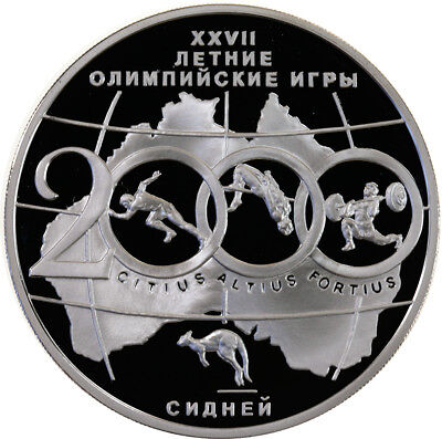 3 Rubel 2000, Russland, Silber, PP/Proof, Olympische Sommerspiele, Parch. 1079