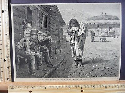 Rare Antique Orig VTG 1876 Old Squaw Begging Frontier Town Engraved Art Print