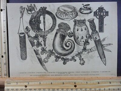 Rare Antique Orig VTG 1876 Scotch, Irish Decorative Carving Engraving Art Print