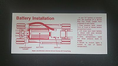 Hess 1979 SERVICE  TANKER TRUCK  BATTERY INSTRUCTION CARD