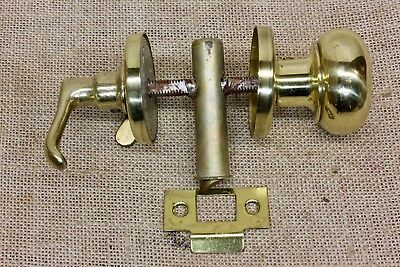 vintage Screen Storm Door Latch Tubular polished brass lockable lever handle old