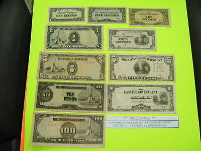PHILIPPINES Money Bank Notes Japanese Japan Occupation 10 DIFFERENT 1c to 100 Yi