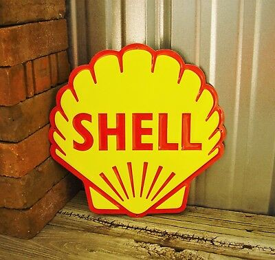 """Shell Gas Gasoline Metal Tin Sign Lion Vintage Garage 12"""" New Embossed Yellow"""