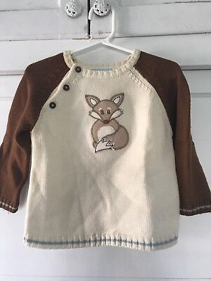 Janie and Jack Boys Little Fox Sweater Size 12-18 months
