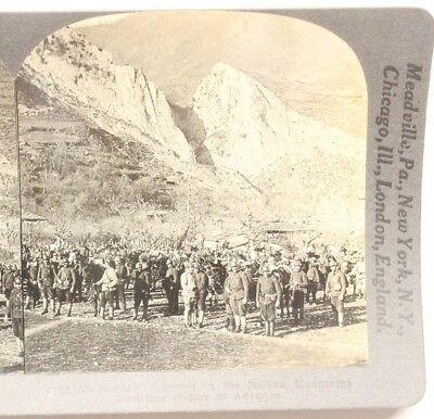 WWI Stereoview card:  Serbian Reserves in Balkan Mountains