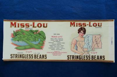 Vintage Can Label Miss Lou Brand Stringless Beans Dorgan McPhillips Mobile Ala.
