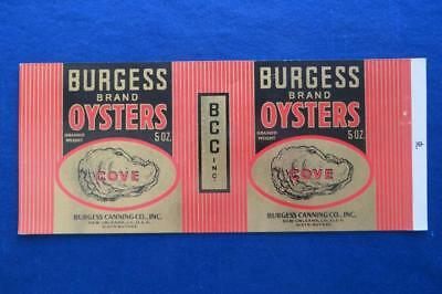 Vintage Can Label Burgess Brand Oysters  New Orleans Louisiana
