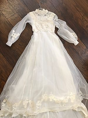 Vtg Boho Hippie Wedding Dress Floral Embroidered Tiny Bride Small 00 23 XXS