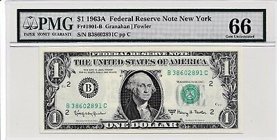 $1 1963A Federal Reserve Note New York S/N B38602891C PMG 66 Gem Unc