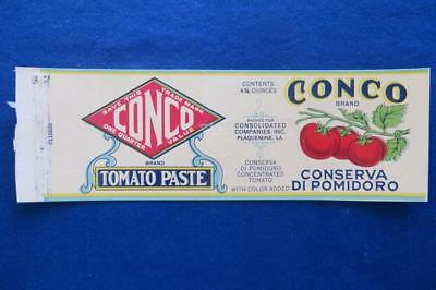 Vintage Can Label Conco Brand Tomato Paste Plaquemine, Louisiana