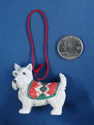 WEST HIGHLAND WHITE TERRIER dog ORNAMENT Westie argyle coat