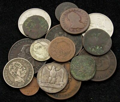Lot of 15 Italy & Italian States Coins dated 1613-1928, Some Silver ASW 0.334oz