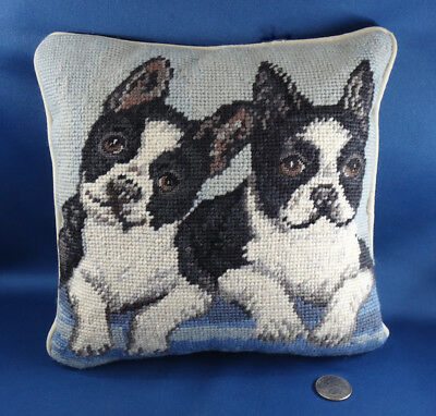 """BOSTON TERRIERS dog decorative pillow NEEDLEPOINT EMBROIDERY 9"""" X 8.5"""""""