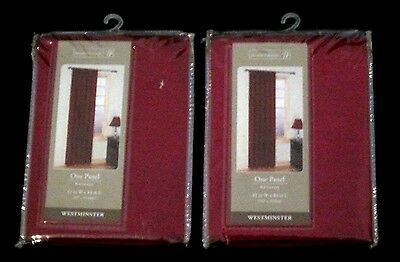 Pair of 42 X 84 Home Trends Westminster Lined Curtain Panels Red Intensity NEW